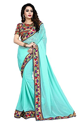 Sarees(DIYA Fashion New Disigner A georgette Party Wear Saree with Blouse Piece , Bollywood Designer Saree, latest collection designer(Sky Blue peacock With Hand Work)  available at amazon for Rs.425