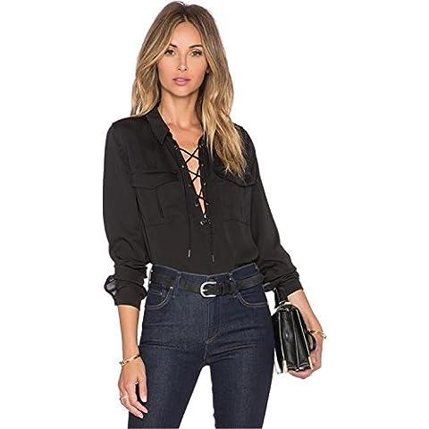 Moda Laccetti con Scollo a V e fondo posteriore più lungo asimmetrico Chiffon Blusa Camicetta Camicia Top Superiore Cime Cima Nero
