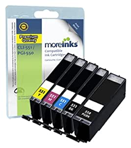5 Moreinks CLI-551 / PGI-550 XL Compatible Ink Cartridge for Canon Pixma MG5450 MG5550 MG5650 MG6350 MG6450 MG6650 MX725 MX925 MX725 MG7150 iP7250 Printers