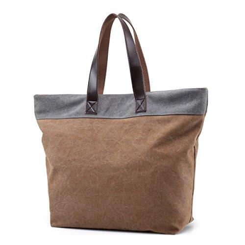 Sacchetto Di Spalla Della Tela Di Canapa Delle Donne Tote Sacchetto Di Acquisto Borsa Di Svago Lady Bag Di Capacità Elevata Coffeewithgray