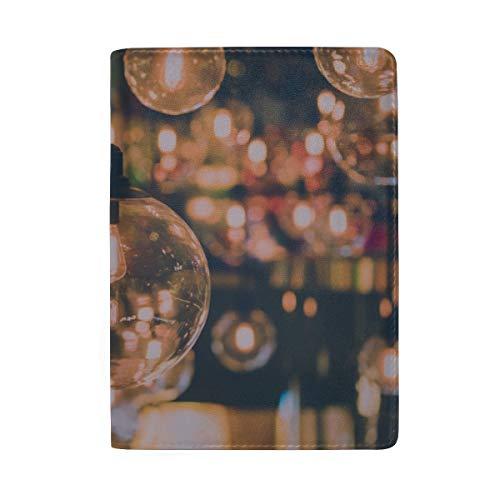 Schöne Retro Licht Lampe Decor Glowing Blocking Print Reisepass Abdeckung Fall Reisegepäck Reisepass Brieftasche Kartenhalter Aus Leder Für Männer Frauen Kinder Familie