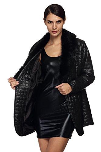 CRAVOG Damen Mantel Jacken Langarm-Pelz-Kunstleder Mid-langen Mantel
