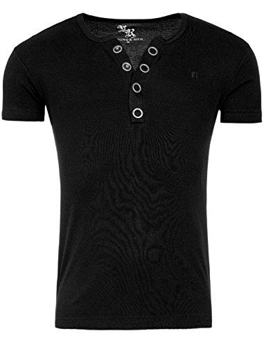 Young&Rich Star Designer Shirt Basic Uni Deep V-Neck Knopfleiste Buttons V-Ausschnitt D.G in Verschiedenen Farben, Farbe:Schwarz;Größe:2XL (Black Classic Button)