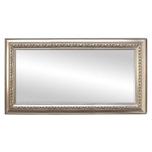 WOHAGA® Garderobenspiegel, elegant verziert, Facettenschliff, 102x52cm, Silberfarben  Flurspiegel Barspiegel Frisierspiegel Spiegel Wandspiegel