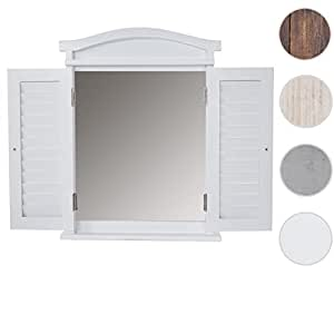 mendler wandspiegel spiegelfenster mit fensterl den 53x42x5cm wei lackiert k che. Black Bedroom Furniture Sets. Home Design Ideas