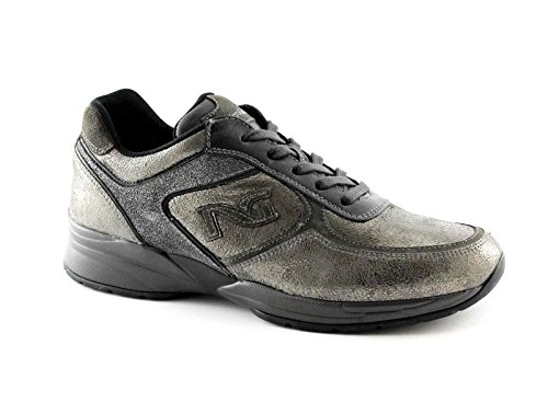 Nero Giardini Black Jardins 16031 Lead Chaussures de Sport Gris Casual Lacets Baskets zeppetta