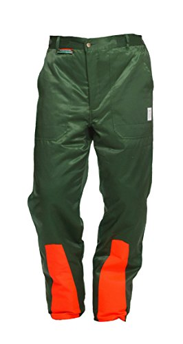 Cut protection trousers class 1, forest trousers Woodsafe, KWF-tested, trousers with elastic waistband green/orange, mens lumberjack trousers with cut-protection form A, lightweight