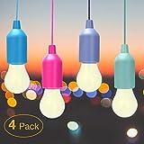 Lampade LED Lamp SISAM Lampada da Scrivania, Led Portatile, Lampadine Led Senza Corrente Colors. 4 Pezzi, Ricaricabile, Escursionismo, Pesca, da Esterno o Interno, Campeggio.