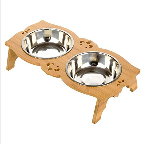 MS.REIA Hundenäpfe, abnehmbare Hundefutter für Katzenfutter, Massivholz, doppelte Edelstahlschalen, umweltfreundlich