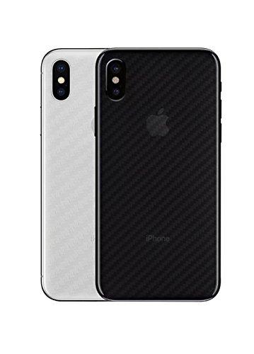qichenlu [Carbon Muster] 4 Stücke Rückseite Folie für iPhone XS Max, Folie Hinter für iPhone XS Max,Klar Matt Klebefolie Kratzfest Hinten Schutz
