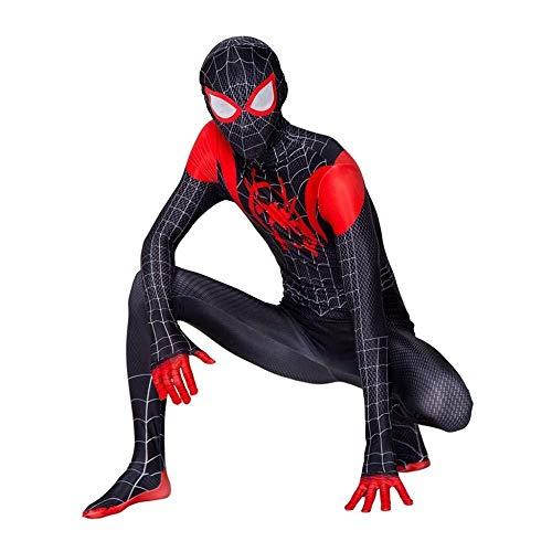 SDFXCV Meilen Schwarz Spiderman Parallel Universum Anime Kostüm 3D Print Cosplay Strumpfhosen Drucken Halloween - Spiderman Kostüm Drucken