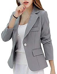 Americana Mujer Elegante De Solapa Manga Largo Negocios Blazer Modernas  Cazadoras Slim Fit Moda Estilo De a06a9fa036e3