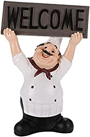 Welcome Sign Resin Chef Decoration Resin Restaurant Shop Chef Statue Cute Chef Restaurant Figurines Ornaments