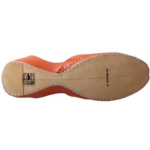 Unze Pelle delle donne ' Nista ' indiano Slipper Pompe Arancione