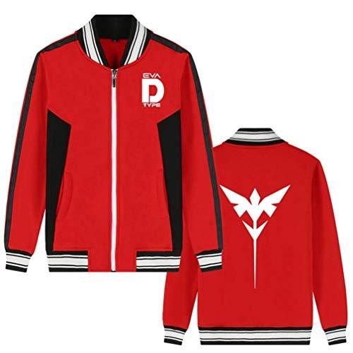Wjhdeigj Mobile Suit Gundam Anime Bomberjacke College Baseballjacken Cosplay Kostüm Zipper Sweatshirt Mantel Strickjacke (Color : Rot 12, Size : XXL) (Kostüm Gundam)