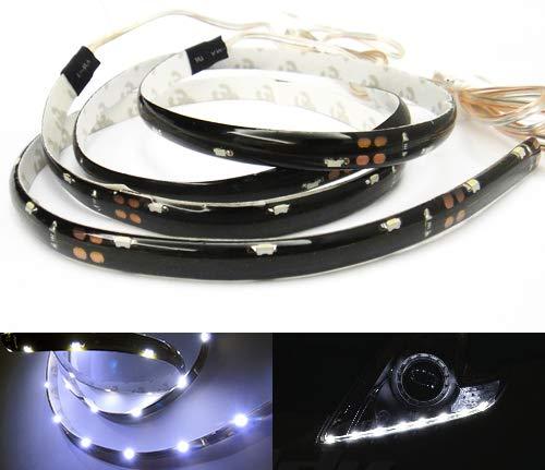2x LED Weiß Seite Glow Lichtleiste 50cm Auto Motorrad Standlicht Kontrollleuchte Tagfahrlicht DRL TFL Innenseite Universal Passform