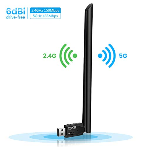 MECO ELEVERDE WiFi Adapter, WLAN Stick mit 6dBi Antenna, USB WiFi Dongle 600Mbit/s Dual Band (5GHz/433Mbps+2.4Ghz 150Mbps) WLAN Empfänger für Desktop/PC/Laptop/Notebook