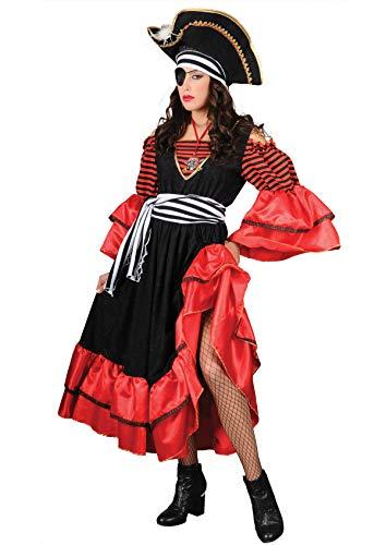 Aus Kostüm Der Fluch Karibik Elizabeth - Unbekannt Stamco, Fluch der Karibik Elizabeth rot, Piraten Kostüm für Damen