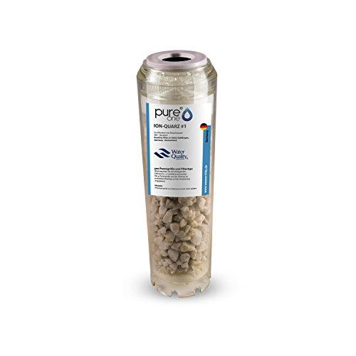 """PureOne ION Quarz #1 Anti-Eisen. Ergänzend zu Manganfilter. Quarzsand zur Wasser Enteisenung u. Filtration. Die Wasserfilter-Kartusche f. Hauswasserwerk Wasserpumpen. Für 10\"""" Wasserfilter Gehäuse"""