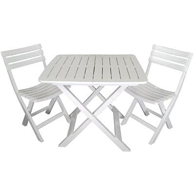 3tlg. Gartengarnitur Balkonmöbel Set Sitzgarnitur 80x72cm Vollkunststoff Campingmöbel Terrassenmöbel Klapptisch Klappstuhl Weiß