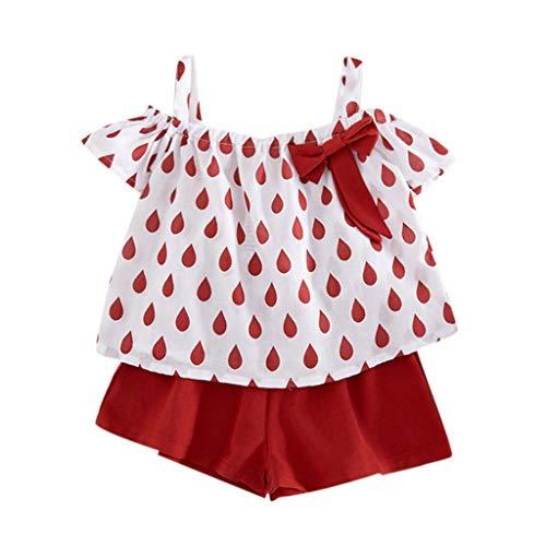 Hunpta@ Kinder Kleinkind Baby Mädchen Outfits Kleidung Schulterfrei Bowknot T-Shirt + Shorts (Chubby Baby Kostüm)