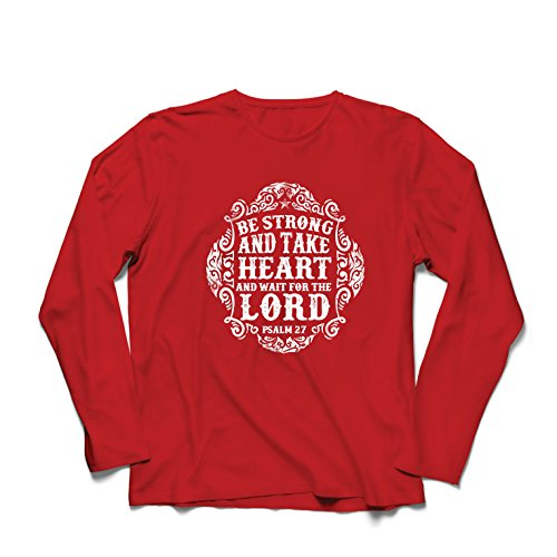 lepni.me Camiseta de Manga Larga Para Hombre Esperar Al Señor - Libros Sobre Los Salmos - Pascua - Resurrección - Natividad - Regalos Cristianos religiosos (Large Rojo Multicolor)