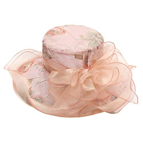 Barlingrock Damen Sonnenhut Organza Wide Brim Cap Hut für Hochzeitsfeier Outgoing