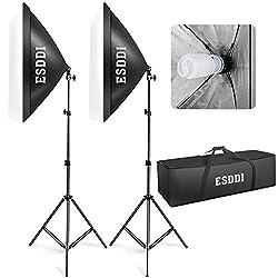 ESDDI Softbox Beleuchtungs set 2x 50x 70 cm Studioleuchten Fotostudio-Leuchten Studio Licht Beleuchtung Fotografie mit 85W Fotolampe Stativ Tragetasche