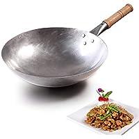 Paisdola Wok de hierro hecho a mano chino grueso de 1.4 mm con mango largo de