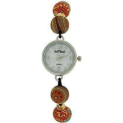 Artisan Beads Ladies Girl Hand Drawn Pattern Bead Elasticated Wrist Watch TOC156
