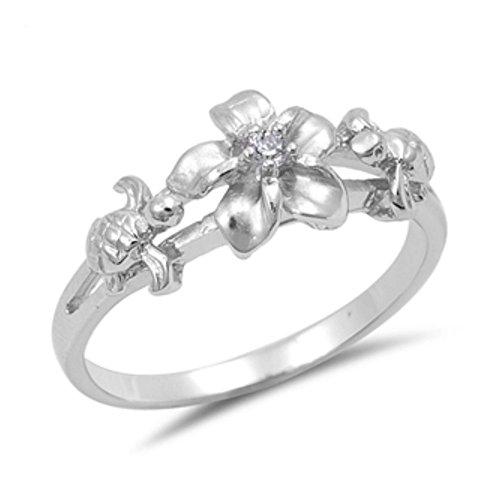 Plumeria-ring (Ring aus Sterlingsilber mit Zirkonia Plumeria mit Schildkröte)