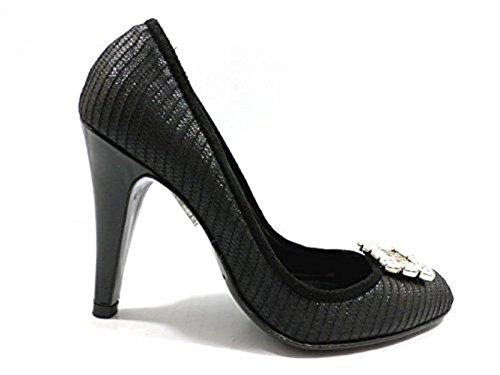 scarpe donna RICHMOND 35 decoltè tessuto camoscio nero WH917