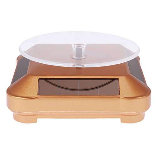 Sharplace 360 ° Solarbetriebene Drehteller mit LED-Licht für Display von Uhr Telefon Schmuck Ring usw - Gold