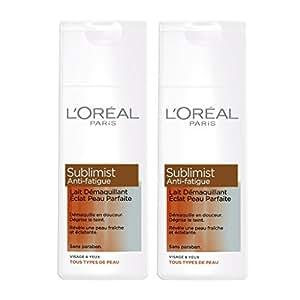 L'Oréal Paris Sublimist Anti-Fatigue Lait Démaquillant Eclat pour Peau Parfaite 200 ml - Lot de 2