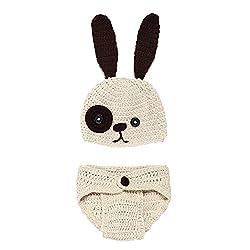 AKAAYUKO born Baby Handmade Knitted Photography Prop Costume (Dog Hat Diaper) from AKAAYUKO