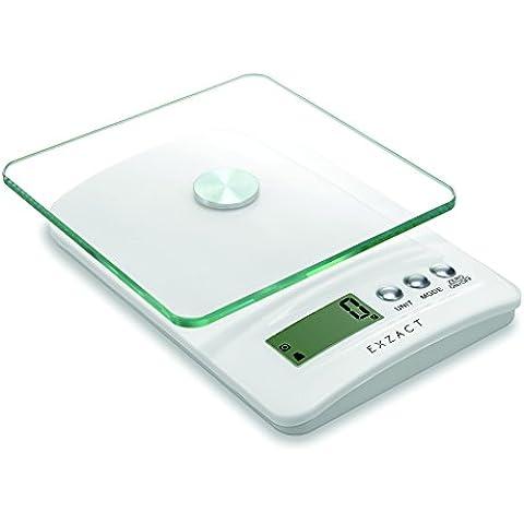 Exzact ClearWeight Bilancia elettronica da cucina - Piattaforma di vetro con il pulsante in acciaio inox - batteria inclusa - 5kg / 11lb (EX5450 Bianca)