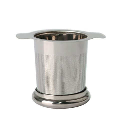 NouveLife Filtre à Thé pour Tasse Passoire à Thé Inox Infuseur à Thé Fin 8x9 cm avec 2 Anses Couvercle Micro Trous pour Tasse Mug Bol Théière