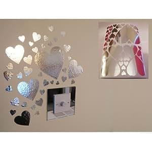 Miroir coeur stickers muraux 1 feuille de format a4 for Stickers miroir cuisine