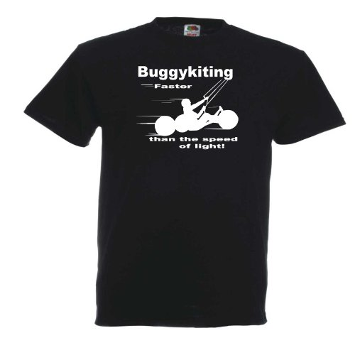 Buggykiting Faster than... T670 Unisex T-Shirt Textilfarbe: schwarz, Druckfarbe: weiß