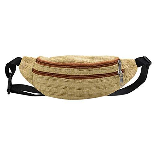 Lenfesh Bauchtasche Gürteltasche Reisen Seitentasche Fanny Pack Hüfttaschen Mode Neutral Outdoor Weben Reißverschluss Streifen Umhängetasche -