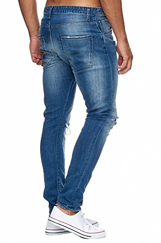 MEGASTYL Herren Hose Ripped Jeans Königsblau Slim-Fit Stretch-Denim Blau