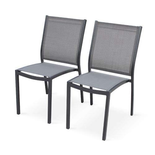 Alice's Garden Lot de 2 chaises - Orlando Anthracite/Gris foncé - en Aluminium Blanc et textilène Taupe, empilables