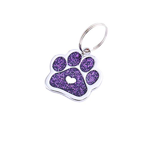 EUCoo Hundehalsband Pet Id Tag Kragen AnhäNger Paw Niedlichen Mini Haustier Halskette SchlüSselbund Schmuck(Lila) -