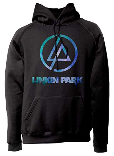 LaMAGLIERIA Unisex-Hoodie Linkin Park Light Blue Texture - Kapuzenpullover Metal Rock Band, S, Schwarz