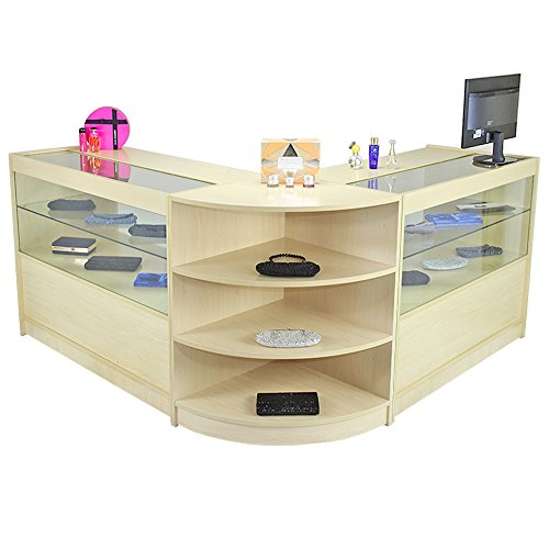 Best MonsterShop Orion Retail Display Shop Counters Set & Glass Showcase Cabinet Units, Maple Discount