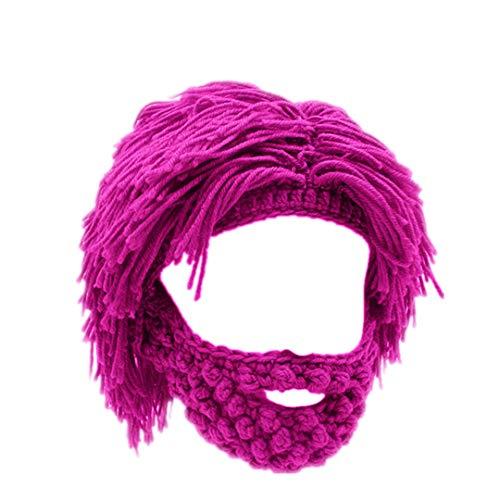 Mad Bomber Hat (Lustige Party Maske Mützen Perücke Bart Hüte Mad Handmade Stricken warme Winter Caps Rose red)