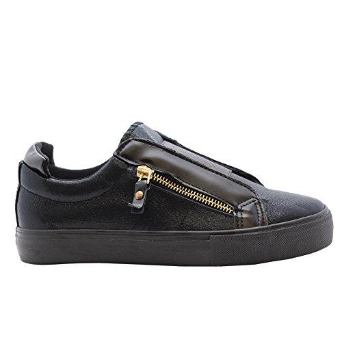 Saute Styles aux Femmes Plat Plimsolls Jumeau Zip Patineur Pompes Formateurs Chaussures Taille 36-41 Noir