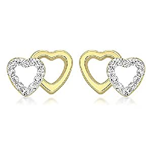 45775f08bd5a Carissima Gold Women s 9 ct Yellow Gold Cubic Zirconia Pave Set Double  Heart 10.5 x 7.7