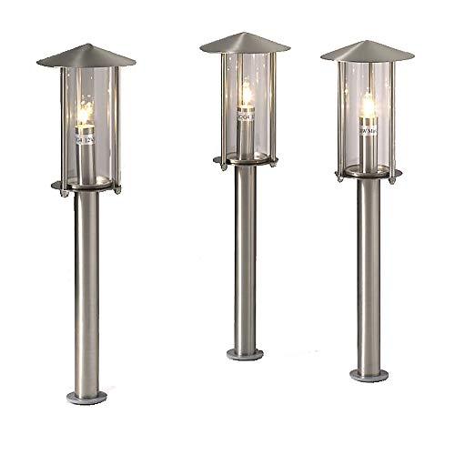 LED Außen-Wegeleuchte Vico mit Erdspieß Edelstahl Glas Leuchte G4-1,5Watt Gartenleuchte Gartenbeleuchtung (3-flammig)