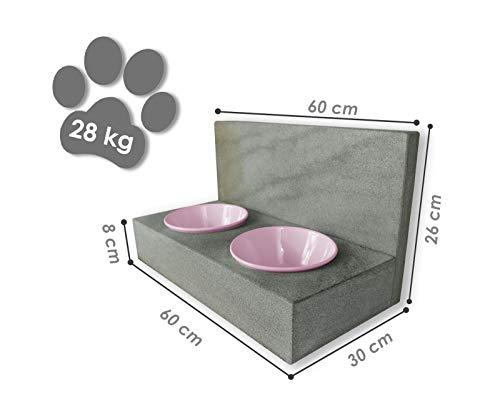 Tazado Futterstation Hundenapf Fressnapf Futterbar mit 2 Näpfen. STYLISCHE, handgefertigte NÄPFE FÜR Hund UND Katze.